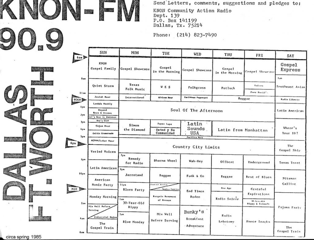 KNON station schedules, 1983-1985