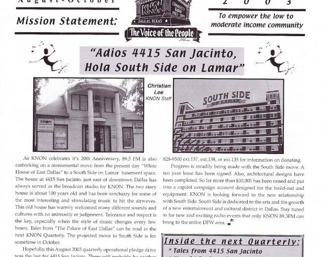 KNON Quarterly, August 2003