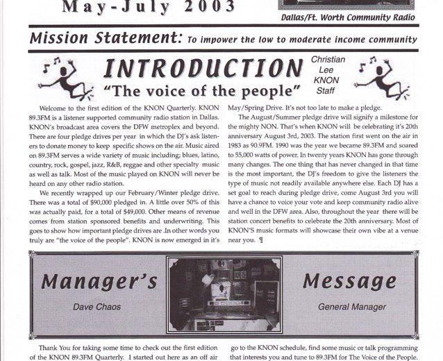 May 1, 2003 KNON Quarterly