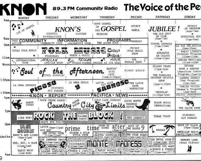 KNON program schedules, 1989