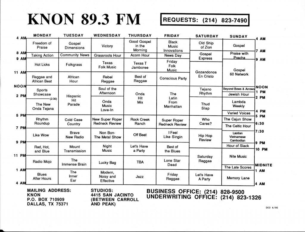 April 1, 1989 KNON Program Schedules