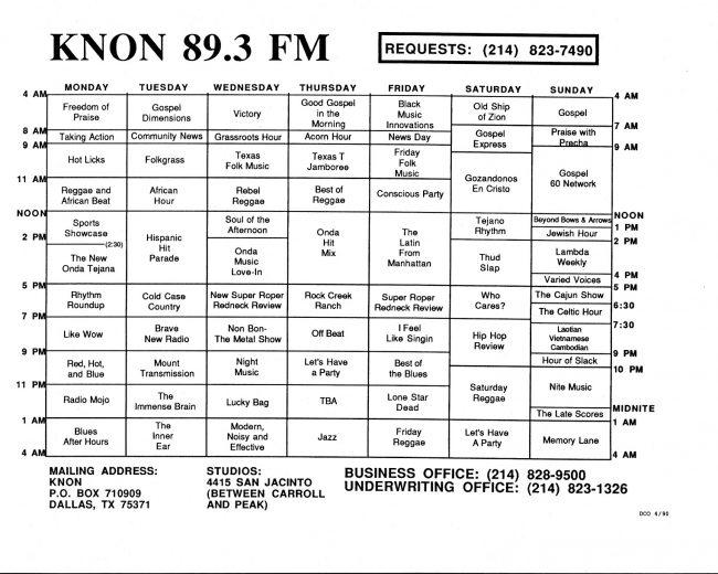 KNON program schedules, 1990