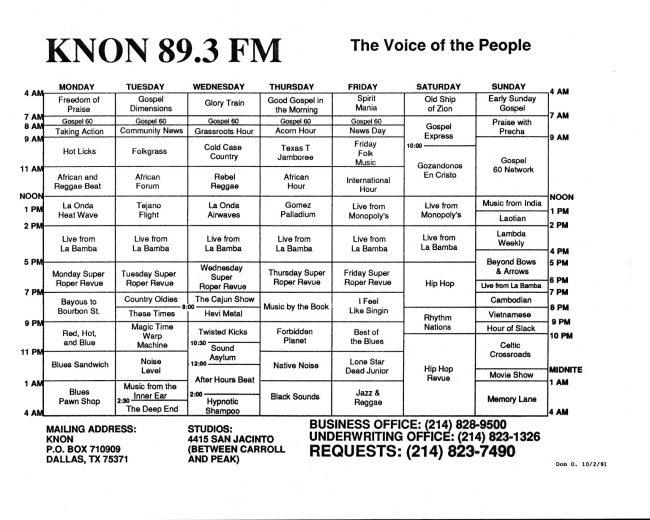 KNON program schedules, 1991