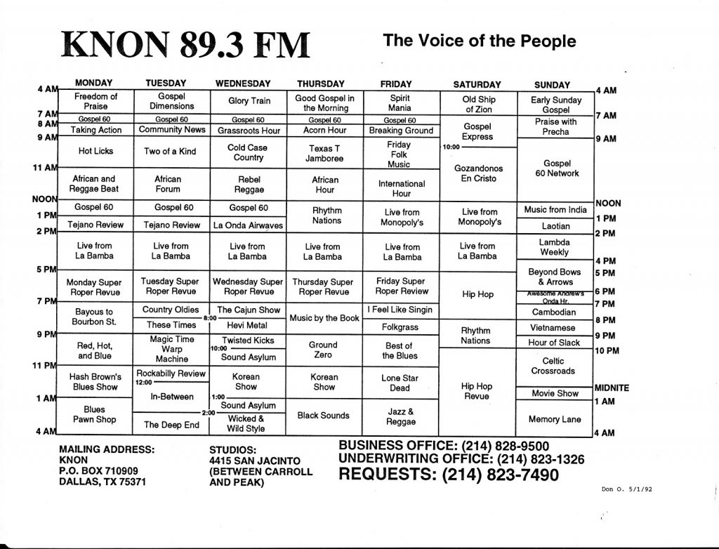 May 1, 1992 KNON Voted Best Radio Station 1992