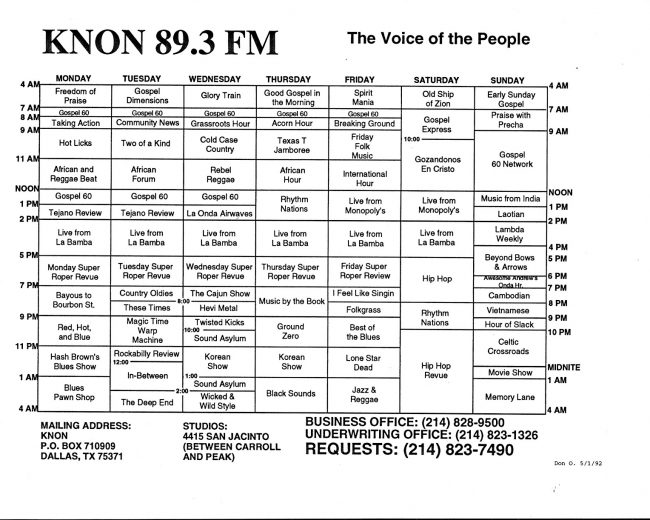 KNON voted Best radio station for 1992