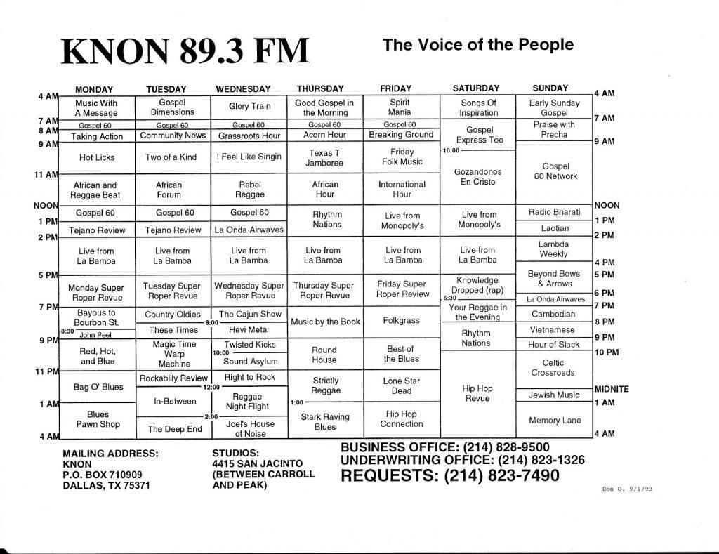 September 1, 1993 KNON Program Schedules, 1993