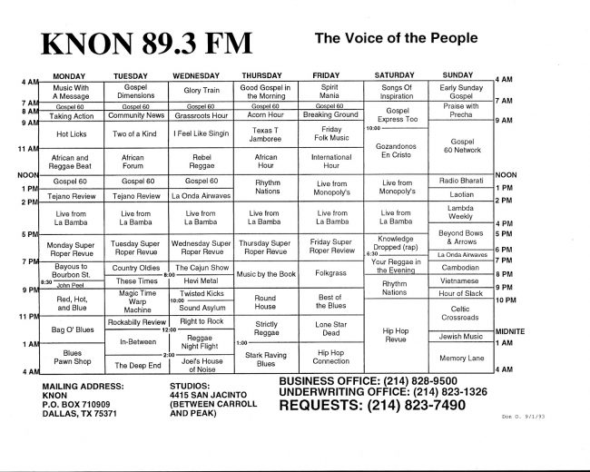 KNON program schedules, 1993