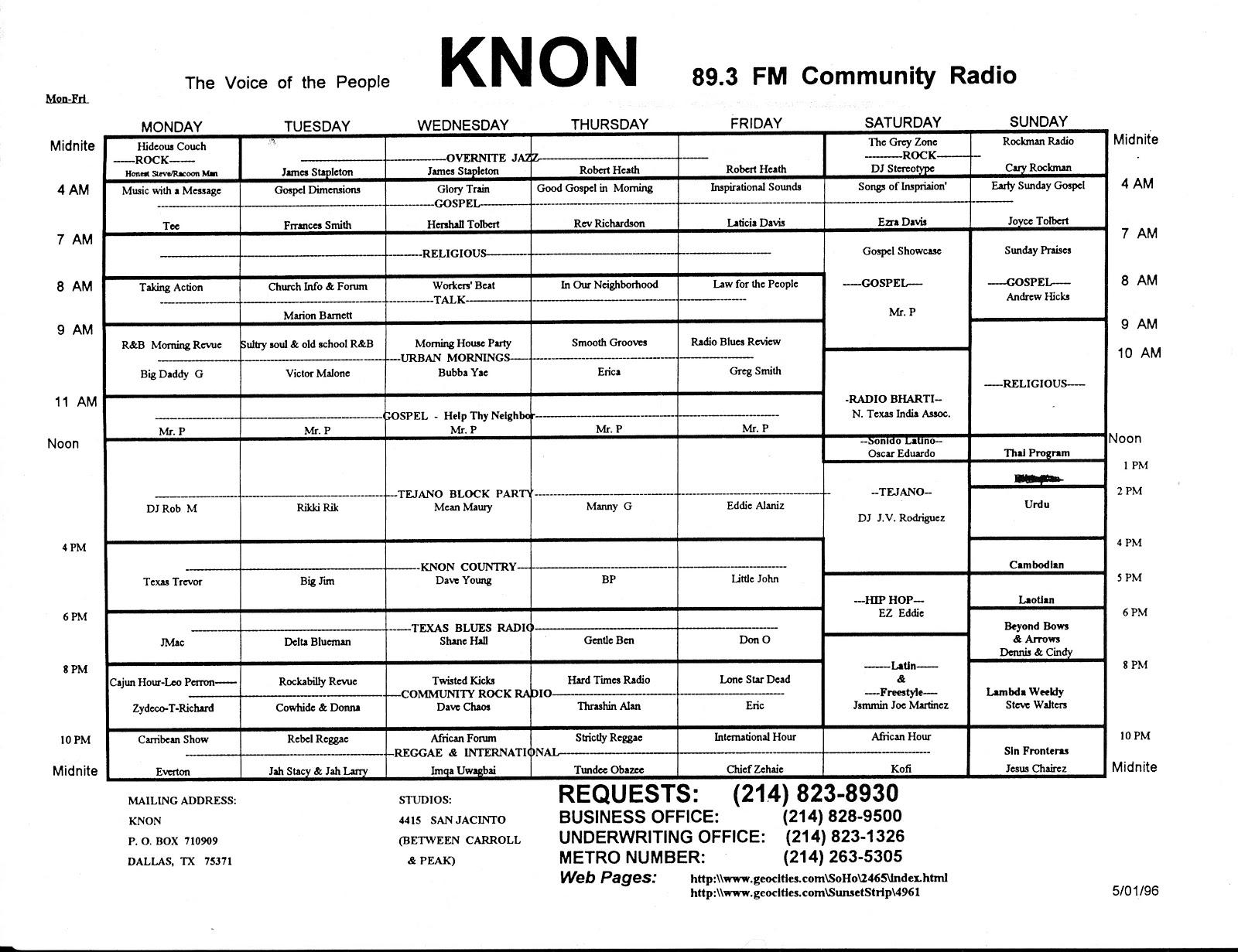 knon-schedule-960501