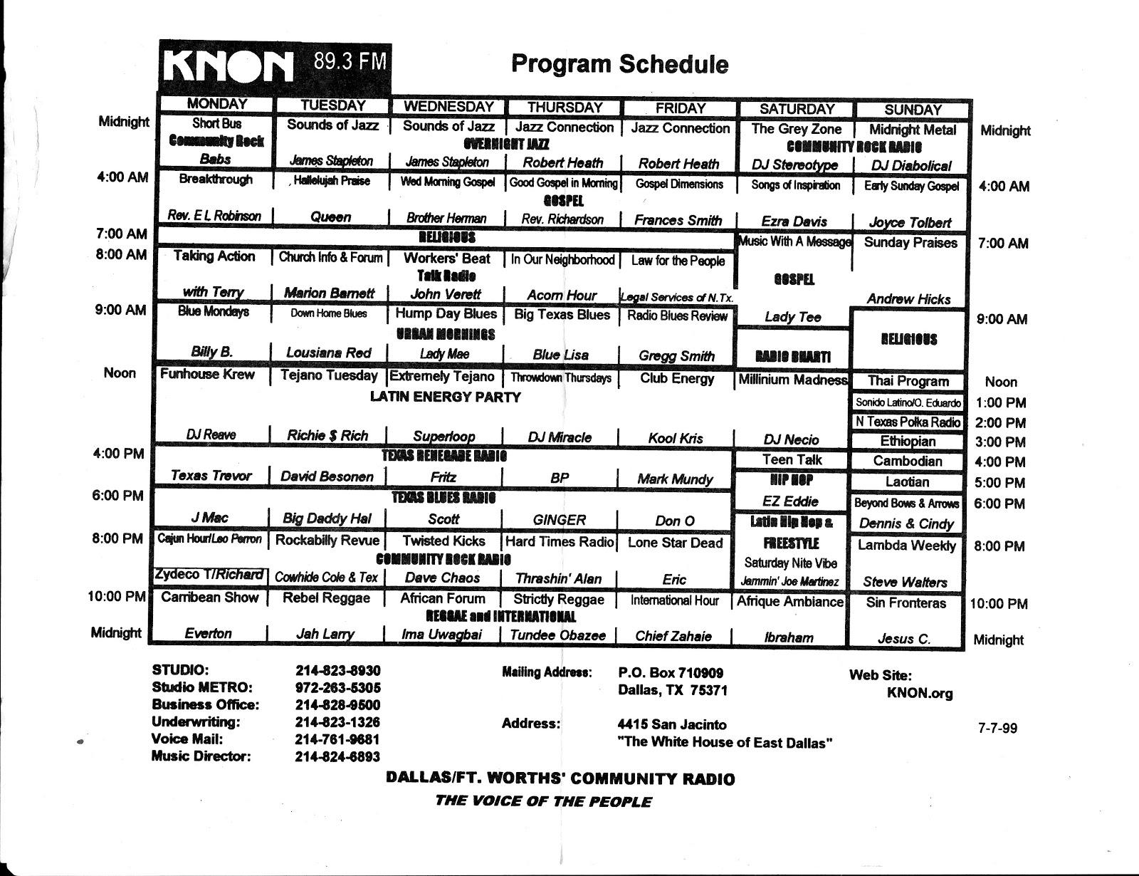 knon-schedule-990707