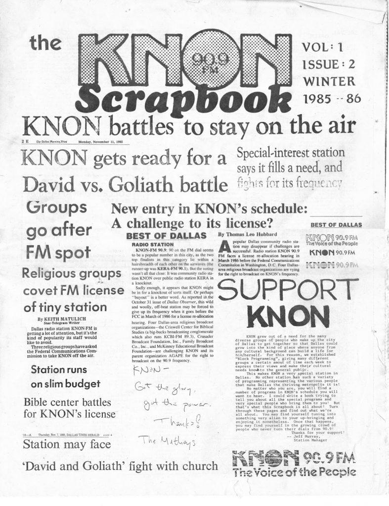 KNON Scrapbook, Volume 2, 1985